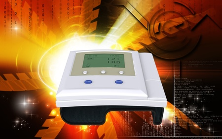 blood pressure monitor: Digital illustration of  blood pressure monitor in colour  background   Stock Photo