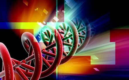 Digital illustration DNA structure in colour background  Stock Illustration - 9536834