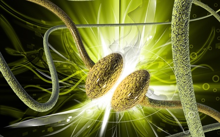 neuron cell body: Digital illustration of synapse in colour background   Stock Photo