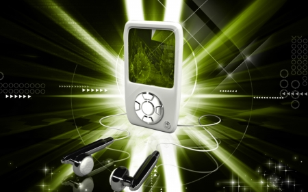 Digital illustration of an I Pod in colour background  illustration