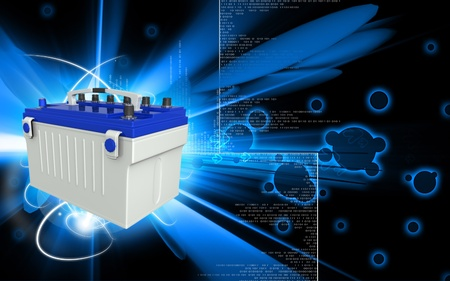 Digital illustration of a battery range in colour background Stock Illustration - 9625135