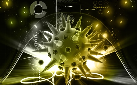 Digital illustration of  Flu virus in colour  background Stock Illustration - 9625175