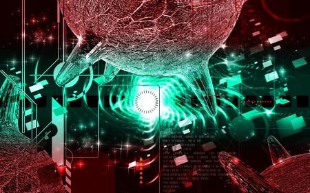 herpes virus:  Digital illustration of  herpes virus in colour  background  Stock Photo