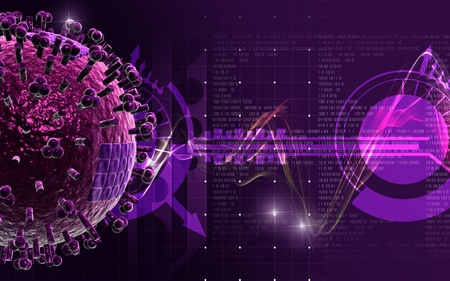 Digital illustration of influenza virus in   colour background    illustration