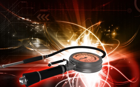 flaw: Digital illustration of Air tyre inflator in colour background  Stock Photo