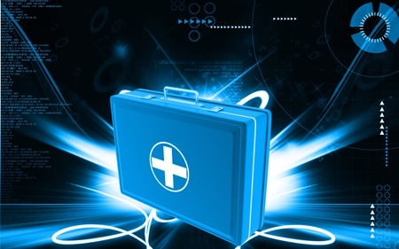 Digital illustration of First aid box  in colour background Stock Illustration - 9625415
