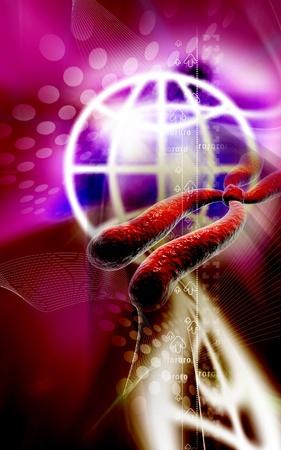 Digital illustration  of chromosome in   colour background Stock Illustration - 9664735