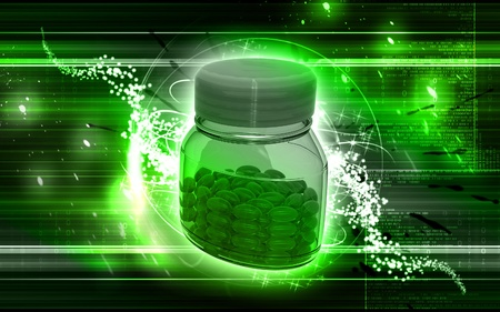 Digital illustration of capsule bottle in colour background  illustration