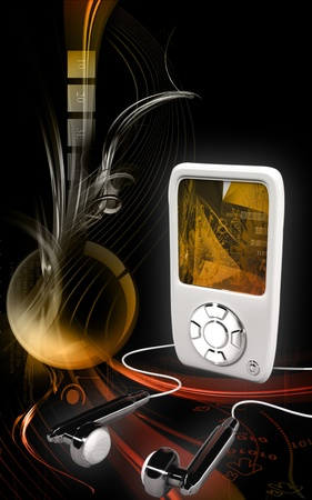 Digital illustration of a music player in colour background  illustration
