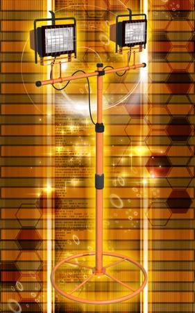Digital illustration of  a flood light in colour background Stock Illustration - 9711016