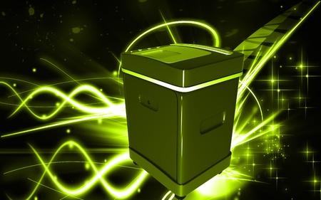 rectangulo:  Ilustraci�n digital de un triturador de tarjeta en fondo de color