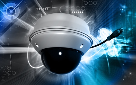 video surveillance: Digital illustration of security camera in colour background
