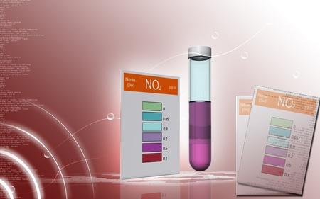 computer scientist: Digital illustration of nitrite test in colour background   Stock Photo