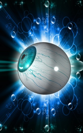 Digital illustration of  eye   in  colour  background   illustration