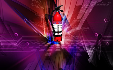 Digital illustration of fire extinguisher in colour background Stock Illustration - 9711352