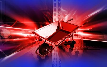 Digital illustration of metal tray wheel barrow in colour background  illustration