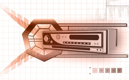 Digital illustration of cd player in colour background Stock Illustration - 9711292