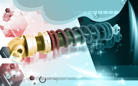 Digital illustration of Shock absorber in colour background Stock Illustration - 9752305