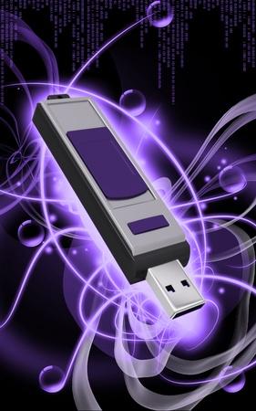 Digital illustration of  a pen drive   in background   illustration