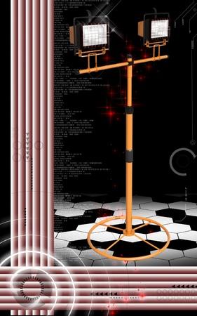 Digital illustration of  a flood light in colour background   illustration