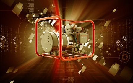 Digital illustration of a generator  in colour background Stock Illustration - 9840853