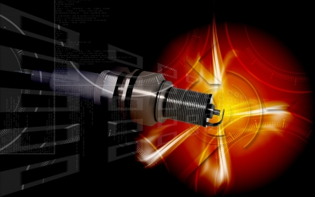Digital illustration of Spark plug in colour background
