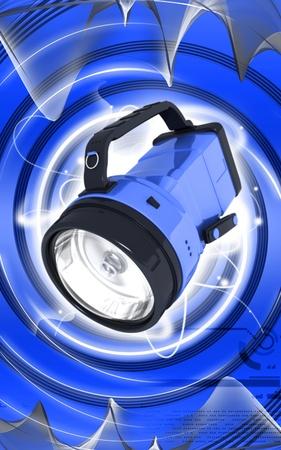 Digital illustration of rechargeable spot light in colour background  illustration