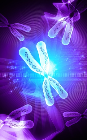Digital illustration  of chromosome in   colour background    Stock Photo