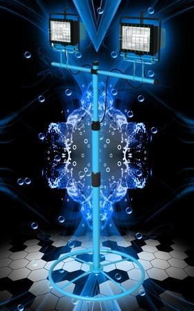 Digital illustration of  a flood light in colour background Stock Illustration - 9841361