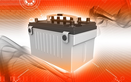 Digital illustration of a battery range in colour background   Stock Photo