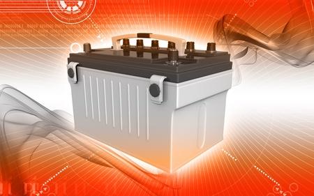 Digital illustration of a battery range in colour background  Standard-Bild