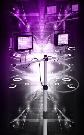 Digital illustration of  a flood light in colour background Stock Illustration - 9841389