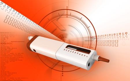 Digital illustration of insulin pen in colour background