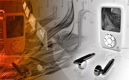 Digital illustration of an I Pod in colour background Stock Illustration - 9954082