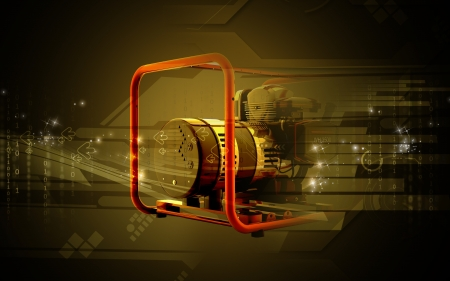 high voltage: Digital illustration of a generator  in colour background  Stock Photo
