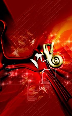 Illustration numérique de l'oreille en arrière-plan de couleur