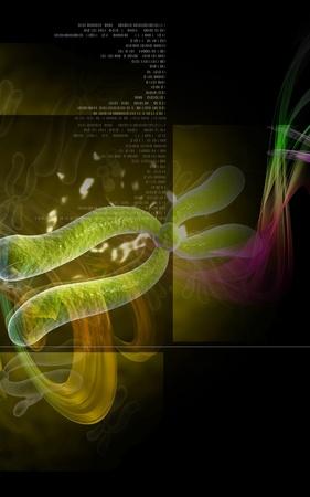 Digital illustration  of chromosome in   colour background   Stock Illustration - 9954128