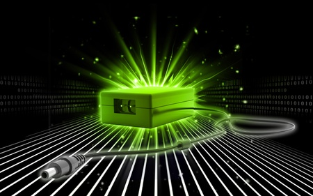 alternating current: Digital illustration of adapter in colour background  Stock Photo