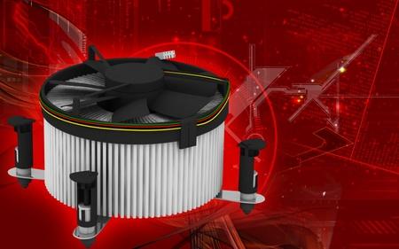 coolant temperature: Digital illustration of Processor fan in colour background