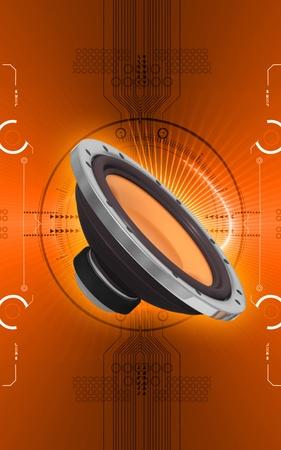 Digital illustration of car stereo in colour background Stock Illustration - 9954138