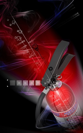Digital illustration of fire extinguisher in colour background Stock Illustration - 9954169
