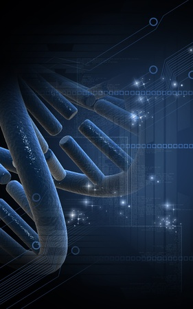 Digital illustration DNA structure in colour background   illustration