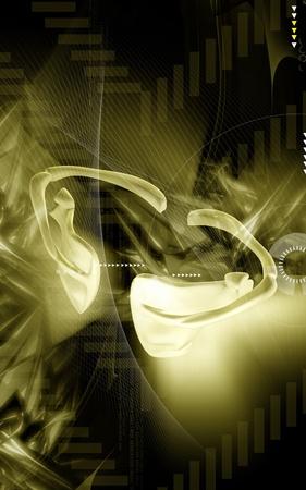 Digital illustration  of collar bone in    colour background Stock Illustration - 9954218