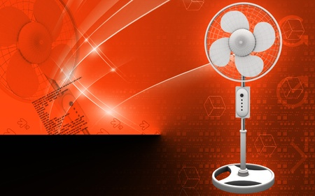 Digital illustration of  a pedestal fan in colour background   illustration