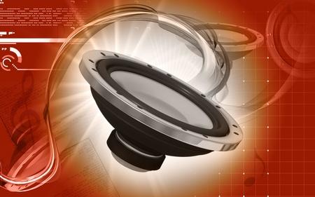 Digital illustration of car stereo in colour background  illustration