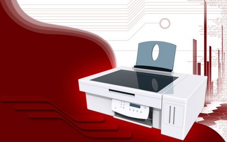 Digital illustration of printer in colour background Stock Illustration - 10028739