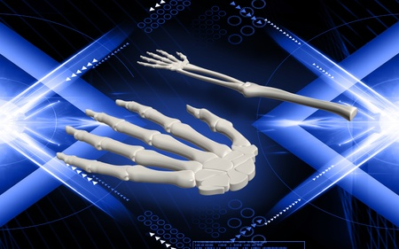 Digital illustration of hand bone in colour background  Stock Illustration - 10028861