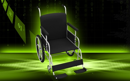 Digital Illustration of  wheel chair  in colour background Stock Illustration - 10028926