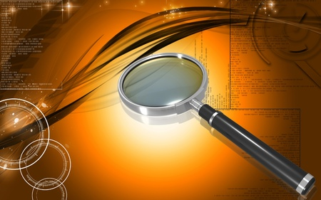 Digital illustration of a magnifying glass in colour background Stock Illustration - 10028941