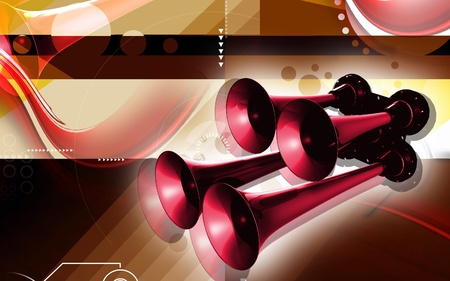 proclaim: Digital illustration  of horn  in  colour background  Stock Photo